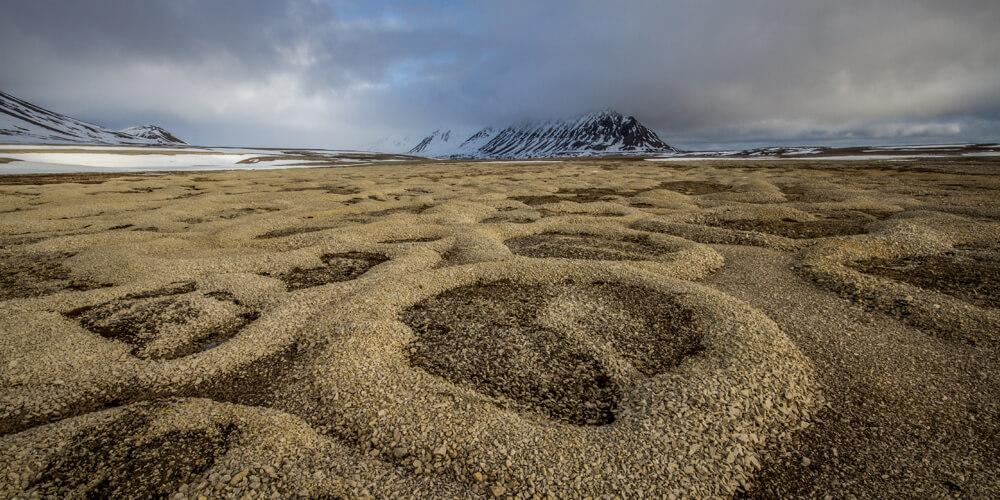 Permafrost-Strukturen auf Spitzbergen