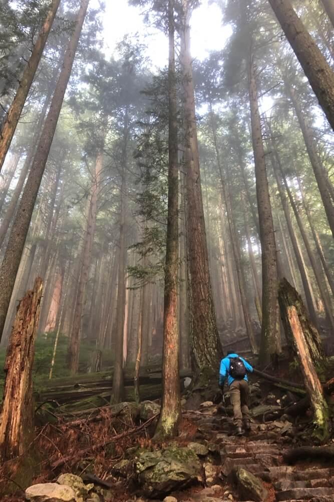 Wanderung auf den Grouse Mountain nördlich von Vancouver