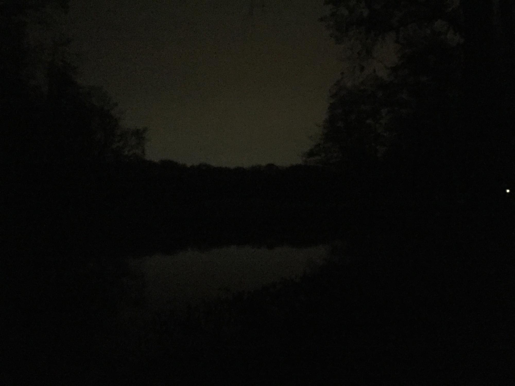 Der Jungfernheideteich bei Dunkelheit, fotografiert mit einem iPhone 6.