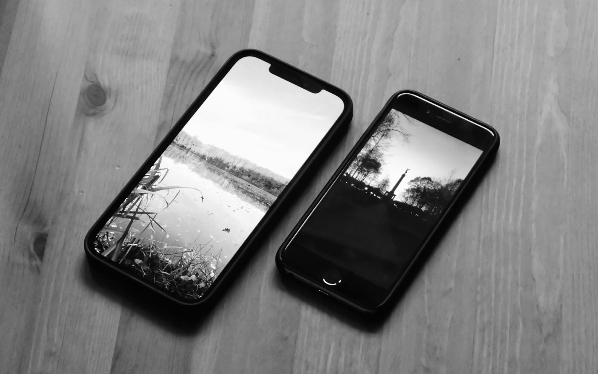 Ein Foto des iPhone 12 Pro Max (links) und des iPhone 6
