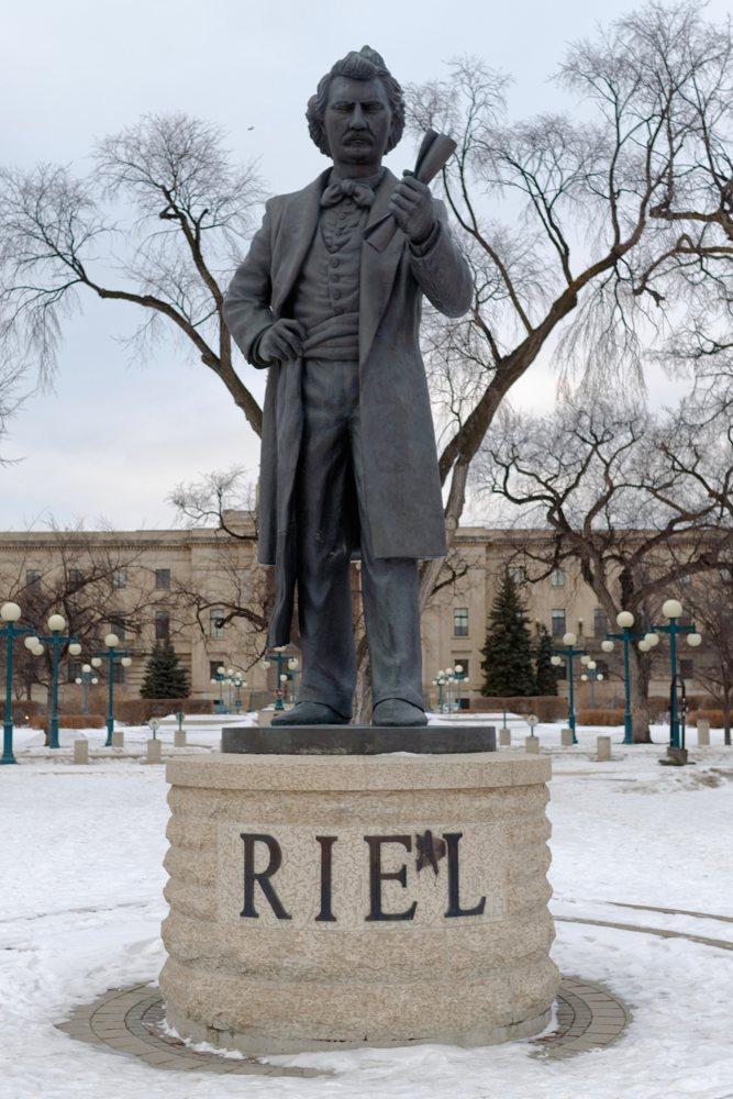 Louis Riel-Statue vor dem Parlamentsgebäude in Winnipeg