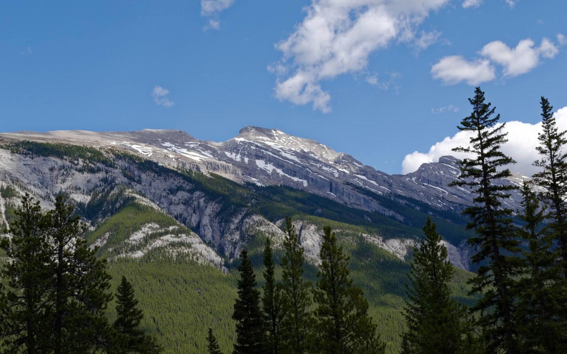 Blick auf den Mount Rundle. Rechts neben dem u-förmigen Einschnitt befindet sich der Gipfel.