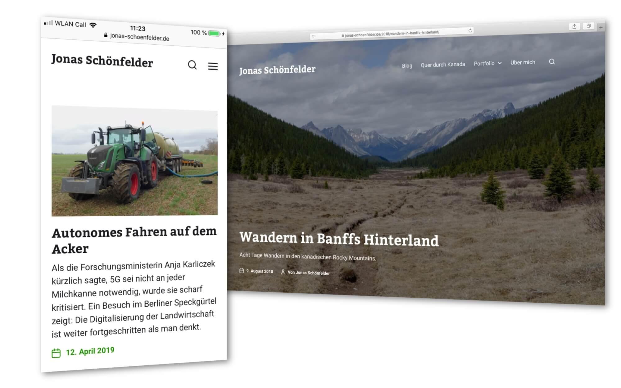 Screenshots der neuen Webseite