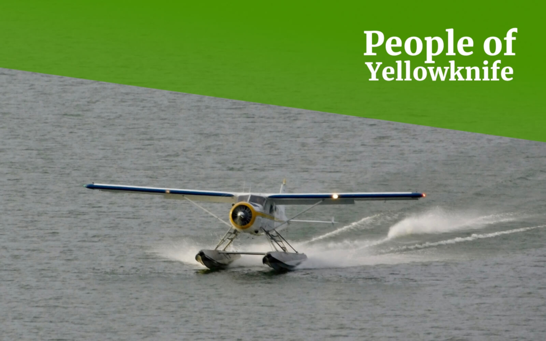 A float plane lands on the Great Slave Lake in Yellowknife, Canada.