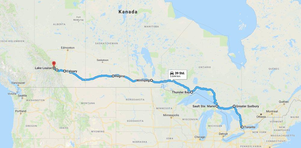 Die Karte zeigt den Weg, den ich bisher in Kanada zurückgelegt habe.