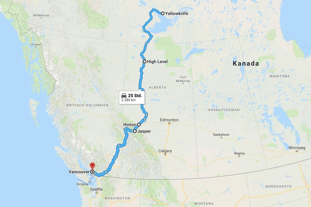 Der Streckenverlauf von Yellowknife nach Vancouver